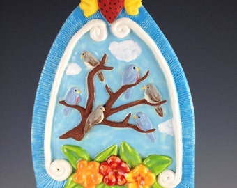Altar Shaped Ornament w/ Birds