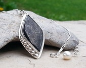 Silver Gemstone Pendant Necklace, Black and Silver, Diamond Shape, Bezel Set Rare Semi-precious Psilomelane, Small Black Stone, 925 Sterling