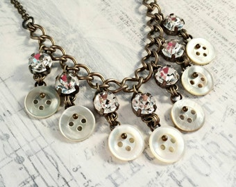 Vintage Button Fringe Necklace - Vintage shell buttons rhinestones