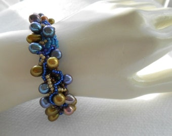 Pearl Drops,OOAK Free Form woven Bracelet featuring dyed  fresh water cultured pearls