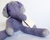 Eli Elephant. Sock animal, sock elephant, sock monkey, soft plush toy for children.