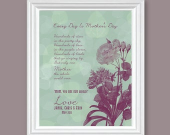 "Mothers Day Art Prints Floral Vintage Inspired Quote Wall Art - Only One Mother - 8"" x 10"" Dark Sea Foam// Maroon -Mothers Day gift guide"