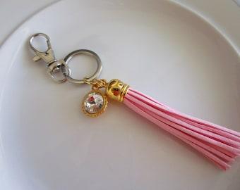 Swarovski crystal charm keychain with pink leather tassel, crystal purse charm, keychain purse charm, leather keychain, tassel, crystal key