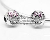 NEW 100% 925 Sterling Silver Minnie Mouse Pavé with Clear / Red CZ Clip Charm Bead  Fits European Style Jewelry Bracelets & Necklaces DS011
