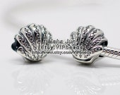 NEW 100% 925 Sterling Silver Ariel's Shell Charm with Clear CZ Charm Bead Fit  European Charm Bracelets & Necklaces DS052
