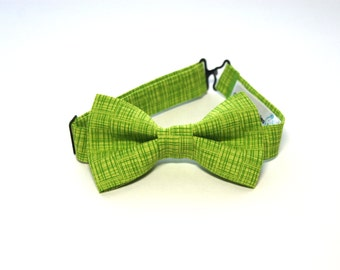 Bow Tie - Lime Green w/ Green Lines Bowtie