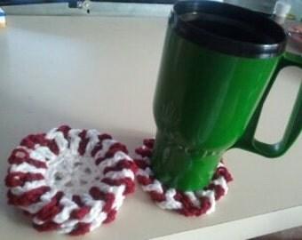 Perky Peppermint Coasters set of 4 handmade crochet