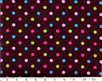 1 Yard, Multi Dots on Brown Creative Spring CP32923