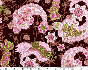 1 Yard, Pink Paisley on Brown