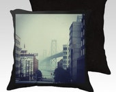 San Francisco Golden Gate Bridge in Fog View from the City Photography Pillow Zippered Cover / case / 18X18 or 22X22 SUPER Luxurious Soft!