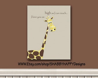 Nursery Wall Poster Print Jungle Giraffe Layered Digital Fabric Minimalist Die-cut Art 8X10 11X14 16X20 12X12 16X16 20X20 w Mount Opt