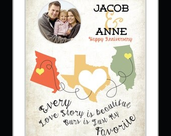 Three state maps Wedding Anniversary Gift Long Distance Quote personalized present From Husband Wife Love Photo couple