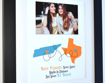 Gift for best friends great friendship leaving two state map never apart quote photo gifts personalized present red and blue colors print