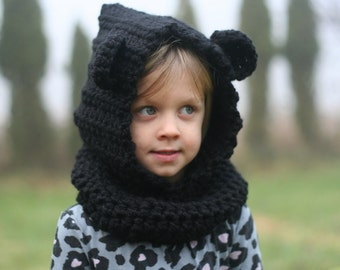 Crochet Hooded Bear Cowl, Bear Hat, Bear Scarf