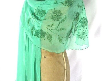 1960s/70s Green Silk Chiffon Wrap with Hand Painted/Glitter Flowers