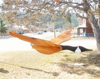 Large wooden flying bird mobile. Canada goose wood mobile. Garden decor. Home folk art decor. Wood whirlygig.