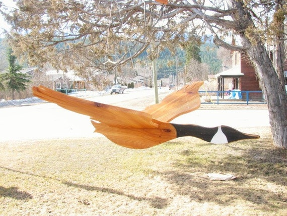 large wooden flying bird mobile. canada goose wood mobile., Garden idea