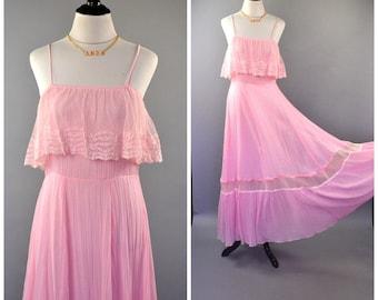 Sweet 1970's Pink Maxi Dress