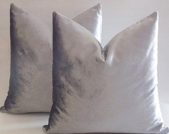 Set Of 2 / Silver Velvet Pillow Covers, Decorative Velvet Pillows, Throw Pillows, 12,14,16,18,20,22,24,26,28,30 inches