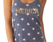Gold Glitter and Stars MERICA Running  Tank Patriotic Tank    with a sparkly glitter flake decoration