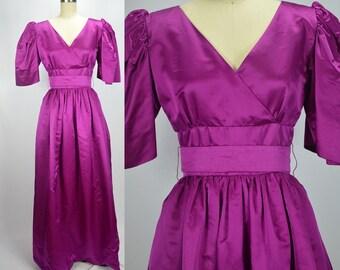 "Dreamy 1970s Fuschia Magenta Silk Satin William Pearson Princess Gown Bust 34-35"""