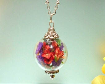 Terrarium Real Statice Moss Orb Sphere Glass Round  Everlasting Pendant Necklace