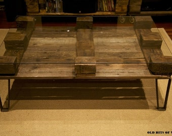The Julysa coffee table. Made from reclaimed wood.  Glass NOT included.