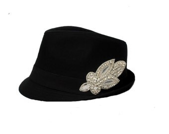 Black bling womens fedora hat