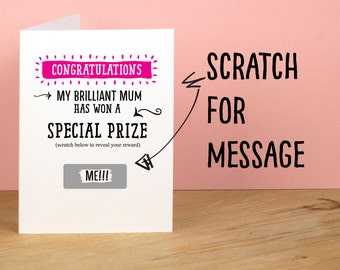 Special Prize Mother's Day Card / Funny Mothers Day Card, Thanks Mom /  Naughty / Mum Card – I Love You. Funny greetings card
