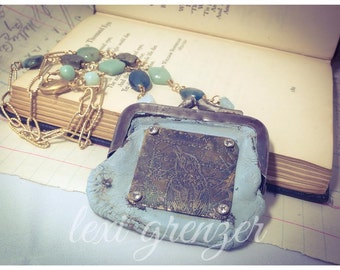 Painted Pouch - Vintage Coin Purse Assemblage Necklace with Appetite, Amazonite and Pyrite