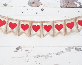 Vintage Burlap Valentine Banner, Painted Heart Burlap Banner, Valentines Day Banner, Valentine Photo Prop B004