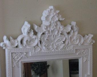 Vintage Mirror,Ornate Mirror,70's Mirror,White Mirror,Large Ornate Mirror,Large White Mirror
