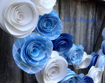 Paper flower garland. Blue garland. Baby blue wedding. Blue and white. Baby boy. Paper flower decor. Rustic wedding. Wedding decorations.