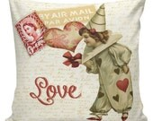 Valentine Pillow Vintage Love Heart French Style Burlap Cotton Throw Pillow VA-26 Elliott Heath Designs Red and Black