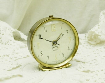 Small Working Vintage Midcentury French Mechanical Japy Alarm Clock / French Mid Century Decor / Retro Home Interior / Bedroom / Timepieace