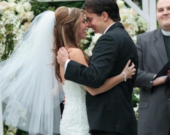 Fingertip Wedding Veil + Blusher - Plain Veil - Short Veil - White Veil - Lace Veil