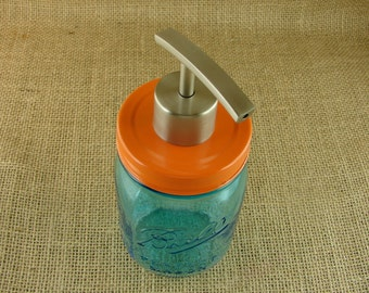Soap Or Lotion Pump - Hand Made Brushed Stainless Steel Mason Jar Pump For Soap or Lotion With Vintage Style Orange Enamel Lid