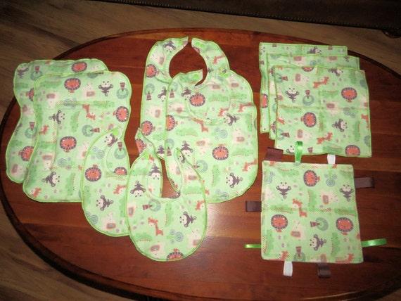baby shower gift gender neutral baby jungle animals burp cloths