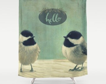 Fabric Shower Curtain  - Hello Birds - Original Photograpy by RDelean Designs, birds, tree, feathers
