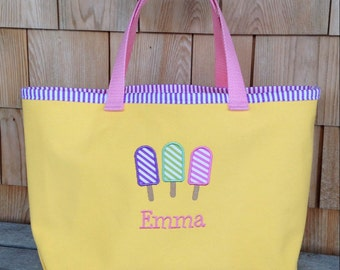 Kids Personalized Yellow Nautical Tote with Ice Cream Design