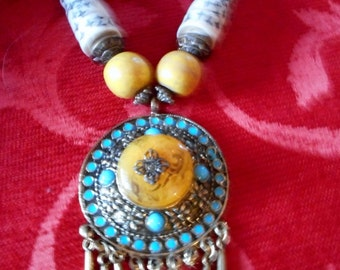 Large statement resin and wooden beaded handmade big pendant necklace christmas present party