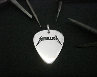 Mini silver handmade guitar pick -  M E T A L L I C A