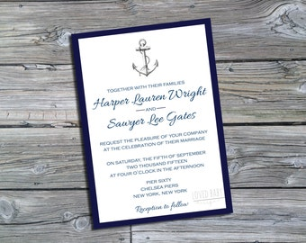 Nautical Wedding Invitation - DIY, Printable, Navy and White