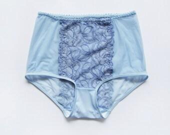 Light blue lace High waisted panties by Egretta Garzetta handmade underwear