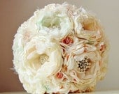 Fabric Flower Bouquet,  Brooch Bouquet,  Vintage Wedding,  Handmade Fabric Bouquet,  Wedding Bouquet