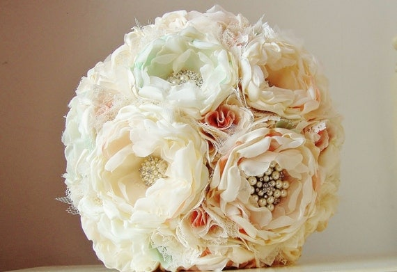 Fabric Flower Bouquet,  Brooch Bouquet,  Vintage Wedding,  Handmade Fabric Bouquet,  Wedding Bouquet - 50% DEPOSIT PAYMENT