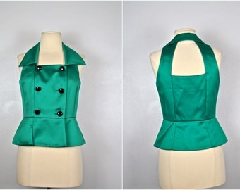 Vintage Green Vest With Black Buttons, Holiday Vest With Cut Outs