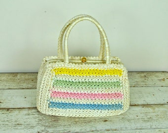 The Hecht Company Bag, Made in Italy, Vintage Crocheted Bag, Vintage Crocheted Purse
