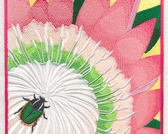 Green Protea Beetle on Protea Flower Embroidered on Made-to-Order Pillow Cover