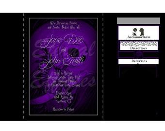 purple black nightmare before christmas inspired pocketfold wedding invitation suite - Nightmare Before Christmas Wedding Invitations